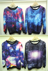 Für Frauen 2013 mode cuicanduomu galaxy lang  Ärmel lose pullover o  Hals sweatshirt lange  Hülle t  shirt