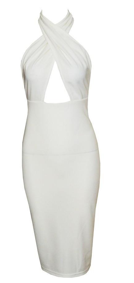 White BodyCon Cross Wrap Halter Dress – Shop Compulsive