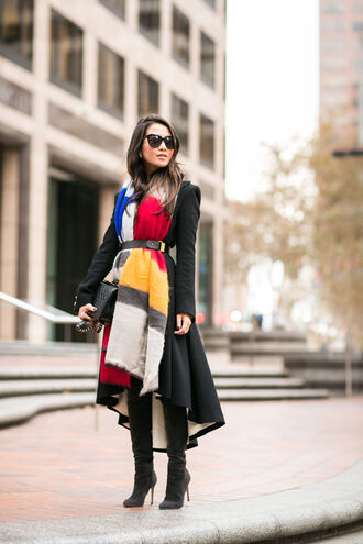 wendy's lookbook blogger bag sunglasses scarf belt jewels coat thigh high boots striped scarf asymmetrical