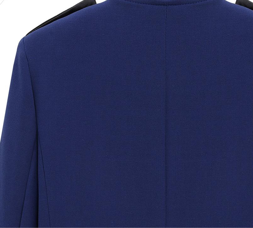 Blue Contrast PU Leather Trims Oblique Zipper Coat - Sheinside.com