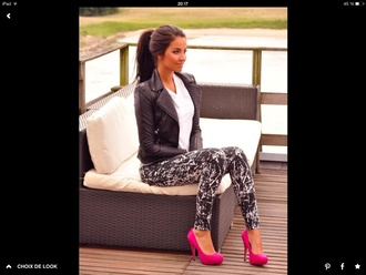 jacket perfecto black spiked leather jacket white t-shirt leggings delavé pink high heels