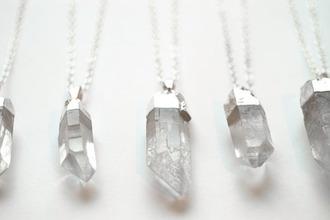 jewels crystal necklace gemstone pendant birthstone stones jewelery silver mineral necklace summer modern white crystal quartz jewelry gemstone