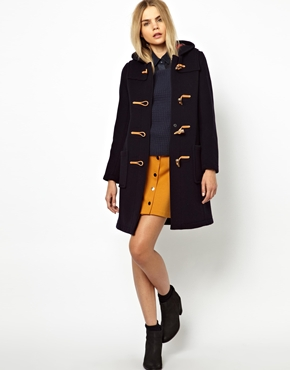 Gloverall | Gloverall Slim Duffle Coat in Wool with Check Lining at ASOS