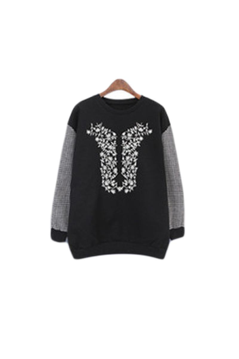 Swallow Grids Patchwork Fleece Loose Printed Sweater,Cheap in Wendybox.com