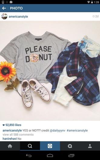 shirt crop tops grey t-shirt donut doughnut shirt