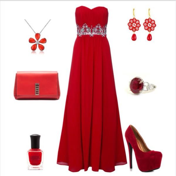 dress prom prom girl red red dress jewels