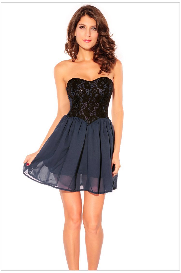 Casual dress 2014 sweetheart lace double layer chiffon tube top fashion one piece dress 2688-inDresses from Apparel & Accessories on Aliexpress.com