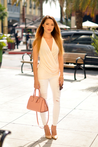 hapa time blogger white ripped jeans nude classy draped top draped