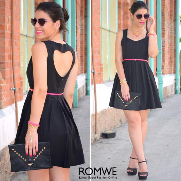 ROMWE | Hollowed Heart Back Black Dress, The Latest Street Fashion
