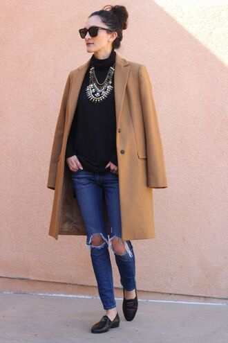 frankie hearts fashion blogger camel coat ripped jeans statement necklace coat sweater jewels jeans shoes sunglasses necklace statement jewelry silver necklace