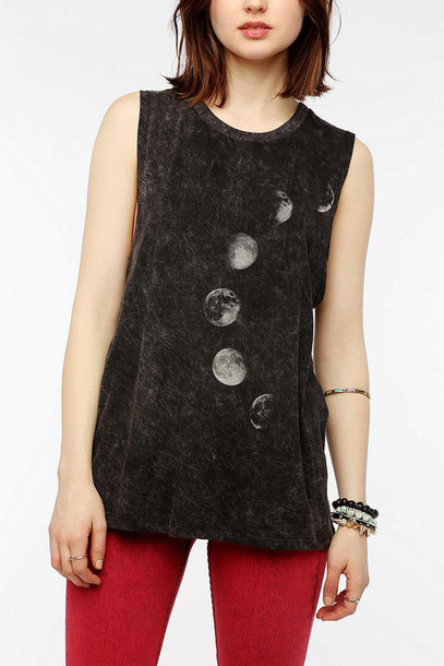 tank top tank top moon grey moon phases rustic muscle tee
