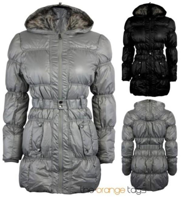 coat fur hood down jacket quilted belted parka jacket winter outfits silver black warm trendy fur trim hood