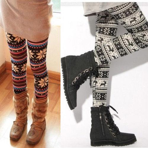 Winter Women's Xmas Snowflake Reindeer Knitted Tights Pants Warm Leggings Pants | eBay