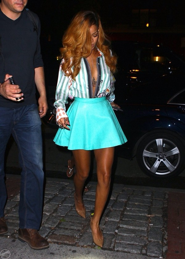skirt rihanna blue skirt fashion blouse