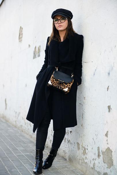 lovely pepa blogger bag black coat fisherman cap glasses