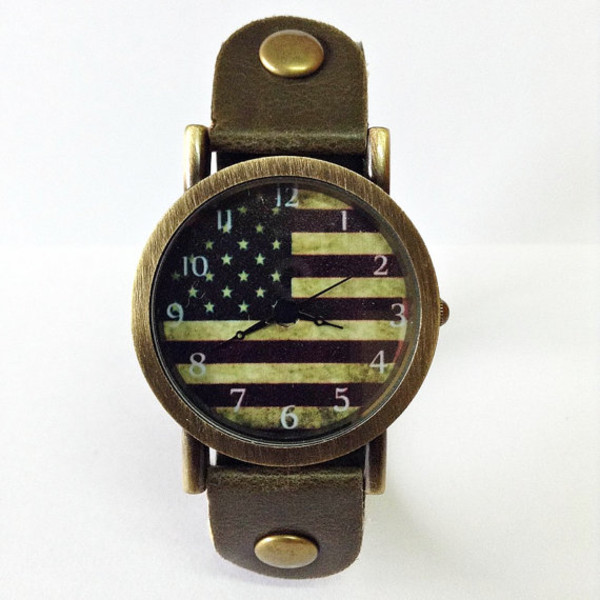 jewels watch watch american flag vintage style leather