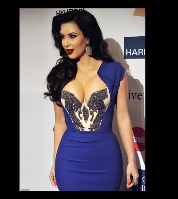 dress blue kim kardashian pretty hot