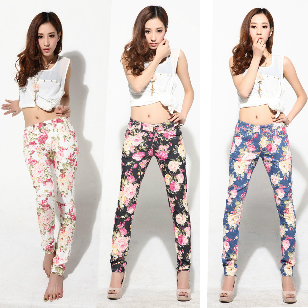 new 2014 women vintage Slim floral cotton jeans casual flower print hot skinny straight denim pencil Pants & Capris white black-in Pants & Capris from Apparel & Accessories on Aliexpress.com