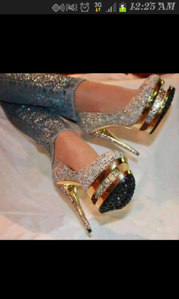 shoes rainbow sparkle gold high heels gorgeous