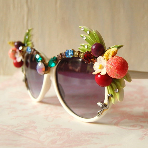 Vintage Quirky Rhinestone and Fruit Sunglasses by NevermoreVintage