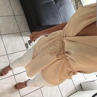 blouse beige chiffon rope modern cream long