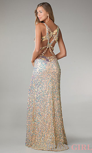 Sequin Pageant Evening Gown, Primavera Long Prom Dress- PromGirl