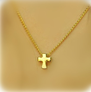 Mini order is $10 (mixed OK) Alloy gold color Mischa Barton cross necklace girl Della jewelry wholesale DN008-in Pendant Necklaces from Jewelry on Aliexpress.com