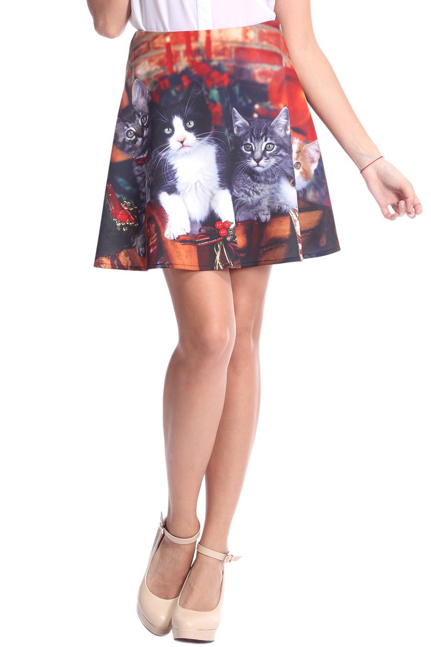 ROMWE   ROMWE Christmas Cats Print Skirt, The Latest Street Fashion