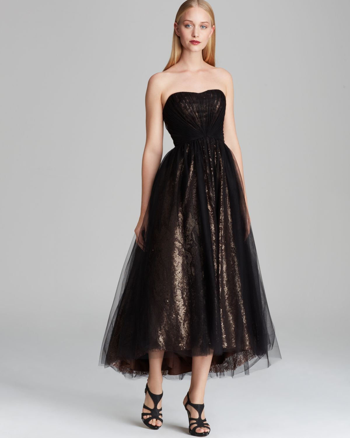 ML Monique Lhuillier Tea-Length Tulle Over Metallic Lace Gown - Strapless | Bloomingdale's