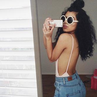 bodysuit open back round sunglasses high waisted shorts