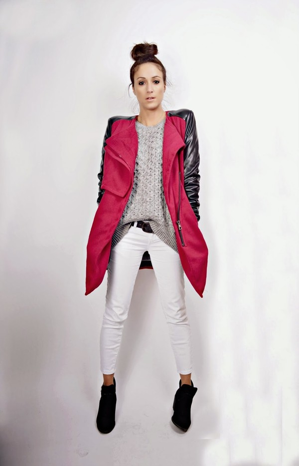 quality rivets coat sweater jeans shoes
