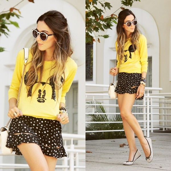 sweater mickey mouse jumper yellow skirt shoes blouse disney mickey mouse sweater