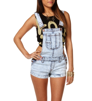 Light Acid Wash Short Overalls