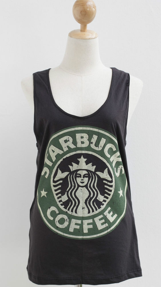 Starbucks Coffee Sleeveless Tank Top T Shirt White Vest Tunic Mini Dress Size M | eBay