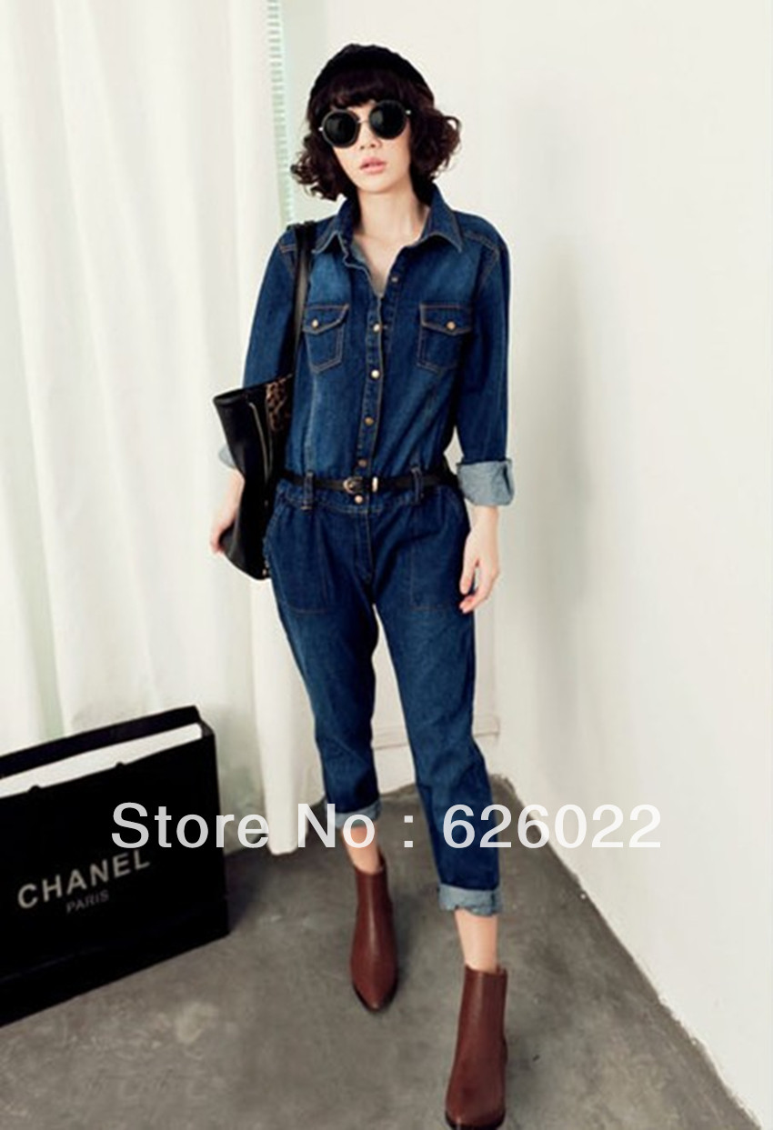 HOT~ 2013 Spring And Autumn Women Fashion Long sleeve Denim Jumpsuit Ladies Plus Size Ladies Casual Rompers Free shipping-in Jumpsuits & Rompers from Apparel & Accessories on Aliexpress.com