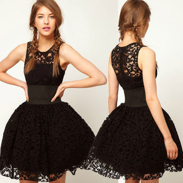 dress court style black lace sleeveless pretty prom prom dress lace dress little black dress puffy dress black lace dress black dress cute dress skirt sexy dress clothes classy woemn fashion elegant trendy girl sexy cute beautiful mint high neck petit short muffin dress waist band straps