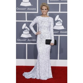 Carrie Underwood White Long Sleeve Gown Celebrity Dress For Less Grammy Awards 2012