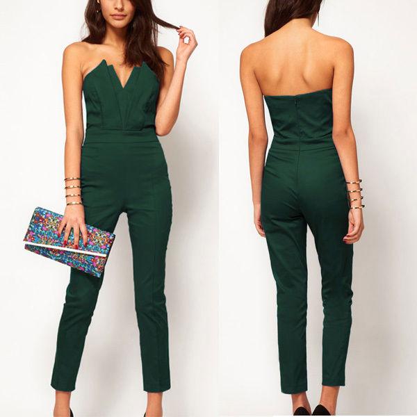 Elegant Women's Sexy Bandeau Slim Siamese Pants Jumpsuit ...