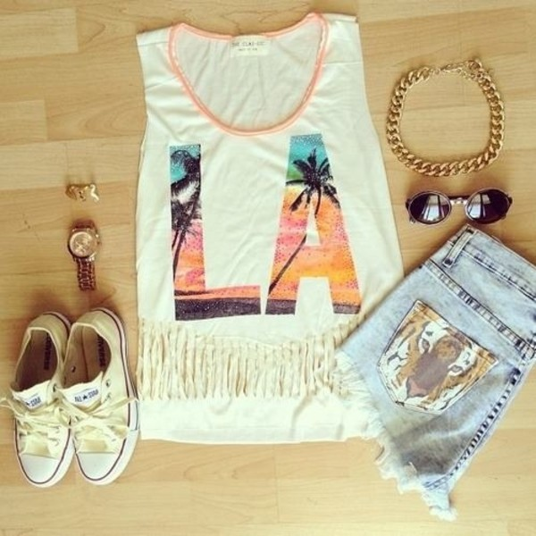 tank top la muscle tee converse cut off shorts High waisted shorts sneakers round sunglasses gold chain fringes high low jewels top