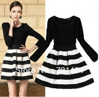 Aliexpress.com : Buy Free Shipping 2013 new Women's dress Black white stripe Ladies dress winter autumn Long sleeve Vintage dress clothes,women skirt from Reliable dress sleeve ideas suppliers on qiuyu hai's store