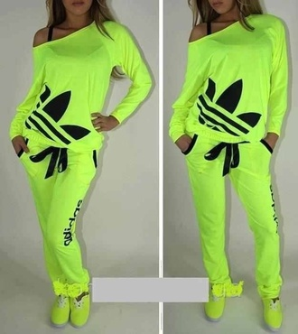 adidas originals lime neon tracksuit joggers adidas tracksuit shirt pants any color whole outfit.. dress clothes jumpsuit adidas neon sweat pants adidas neon shirt lime green addidas romper adidas outfit top adidas neon yellow sportswear neon adidas tracksuit