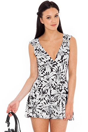 Deep V Play Suit with Diamante Accents
