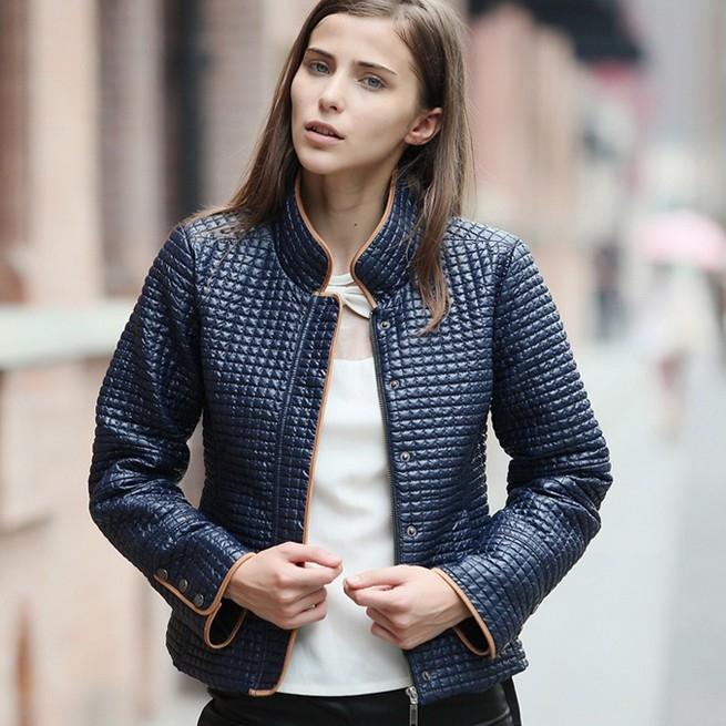 Stand Collar Zipper Decorate Fall Coat Blue