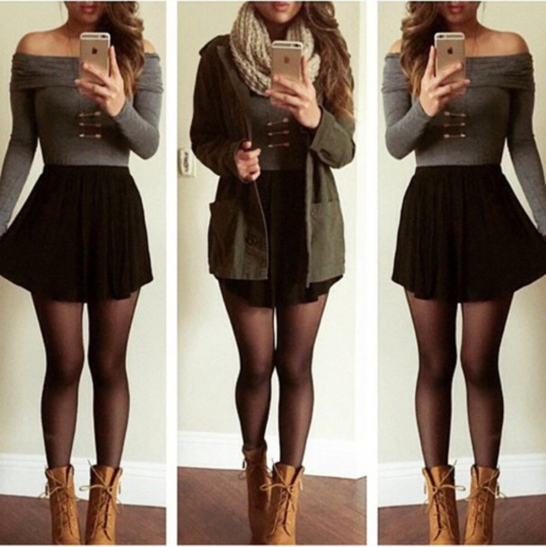 scarf t-shirt jacket skirt shoes top
