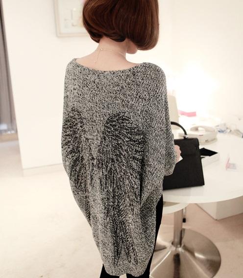 2013 14 Fall Winter Angel Wing Loose Long Sweater Knitwear Grey   eBay