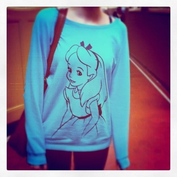 sweater clothes alice in wonderland blue