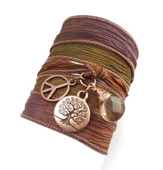 jewelry wrap bracelet silk ribbon bracelet charm bracelet