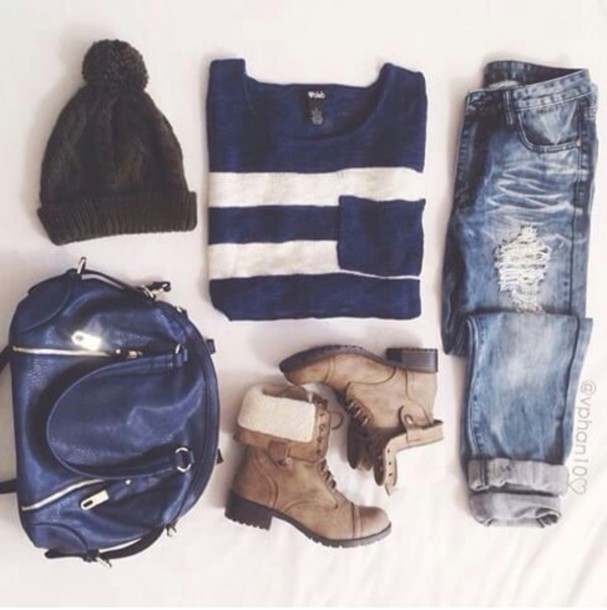 hat sweater jeans bag shorts shoes