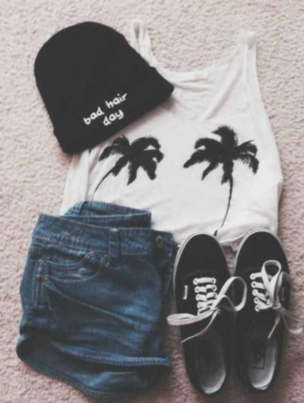 shirt shorts hat shoes
