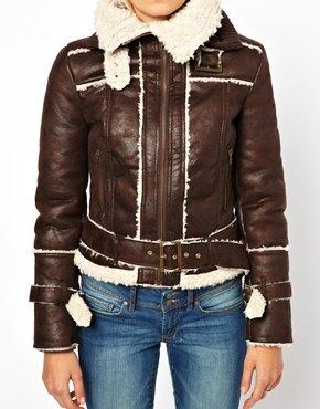 Mango | Mango Teddy Lined Collar Biker Jacket at ASOS
